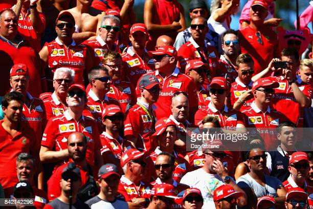 Ferrari fans enjoy the atmosphere before the Formula One Grand Prix of Italy at Autodromo di Monza on September 3 2017 in Monza Italy
