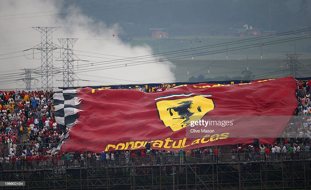 Ferrari flag is unfurled during qualifying for the Brazilian Formula One Grand Prix at the Autodromo Jose Carlos Pace on November 24, 2012 in Sao Paulo, Brazil.