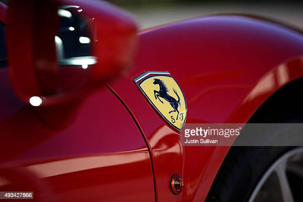 Ferrari is displayed in the showroom at Ferrari of San Francisco on October 20 2015 in Mill Valley California Italian luxury sports car manufacturer...