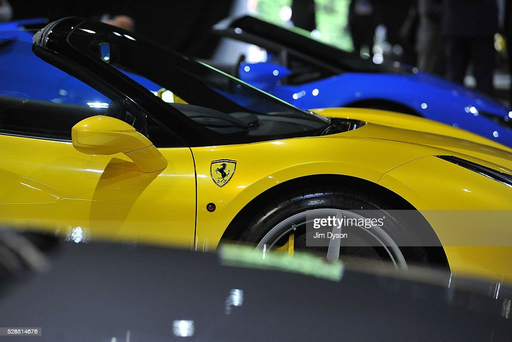 A Ferrari is pictured during the 2016 London Motor Show at Battersea Evolution Marquee on May 5, 2016 in London, England. The show, returning for the first time in eight years, will run from 6-8 May.