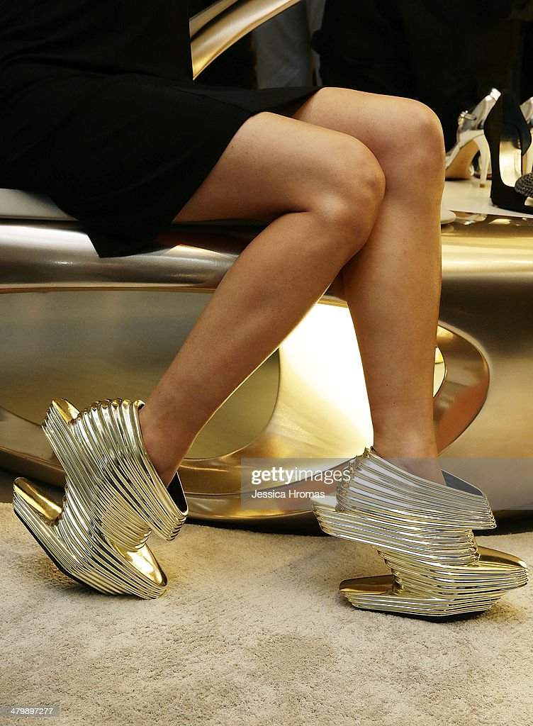 Ferrari Koolhaas is wearing Zaha Hadid designed shoes at the opening of the Stuart Weitzman Boutique which was designed by Zaha Hadid in the IFC Mall, Central on March 21, 2014 in Hong Kong.