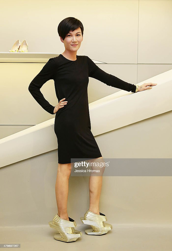 Ferrari Koolhaas, wearing Zaha Hadid designed shoes attends the opening of the Stuart Weitzman Boutique which was designed by Zaha Hadid in the IFC Mall, Central on March 21, 2014 in Hong Kong.