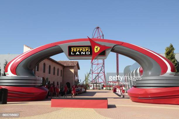 Ferrari Land entrance at Port Aventura World on April 6 2017 in Tarragona Spain