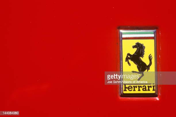 A Ferrari logo at the Ferrari Sports Car Festival in Beverly Hills California