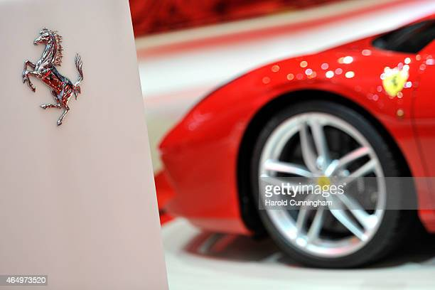 Ferrari logo is displayed at the Geneva International Motor Show on March 2 2015 in Geneva Switzerland The 85th International Motor Show held from...