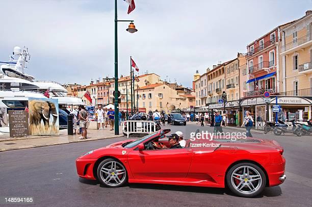 Ferrari on street of St Tropez.