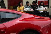 Ferrari parks in Knightsbridge on August 8 2014 in London England Tourists and car enthusiasts have been flocking to the wealthy London district to...