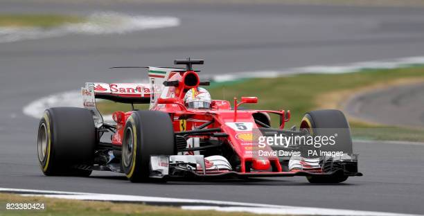 Ferrari Sebastian Vettel during second practice of the 2017 British Grand Prix at Silverstone Circuit Towcester