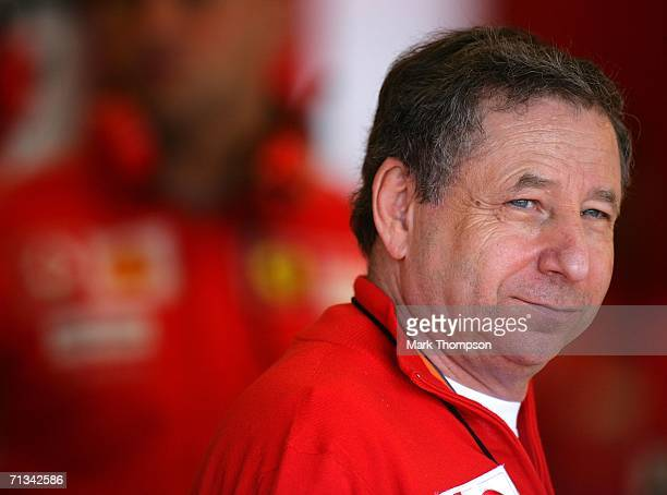 Ferrari team principal Jean Todt of France looks on from the paddock during practice for F1 United States Grand Prix at Indianapolis Motor Speedway...