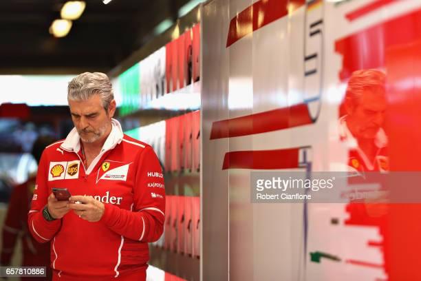 Ferrari Team Principal Maurizio Arrivabene in the Ferrari garage during the Australian Formula One Grand Prix at Albert Park on March 26 2017 in...