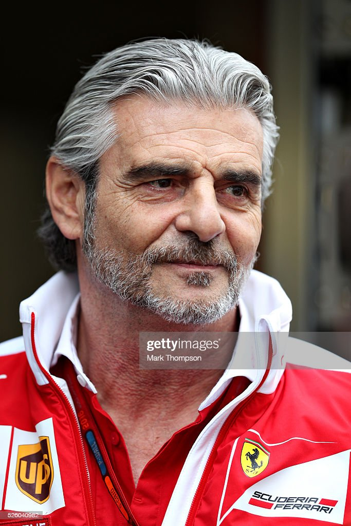Ferrari Team Principal <a gi-track='captionPersonalityLinkClicked' href=/galleries/search?phrase=Maurizio+Arrivabene&family=editorial&specificpeople=5666002 ng-click='$event.stopPropagation()'>Maurizio Arrivabene</a> in the Paddock during practice for the Formula One Grand Prix of Russia at Sochi Autodrom on April 29, 2016 in Sochi, Russia.