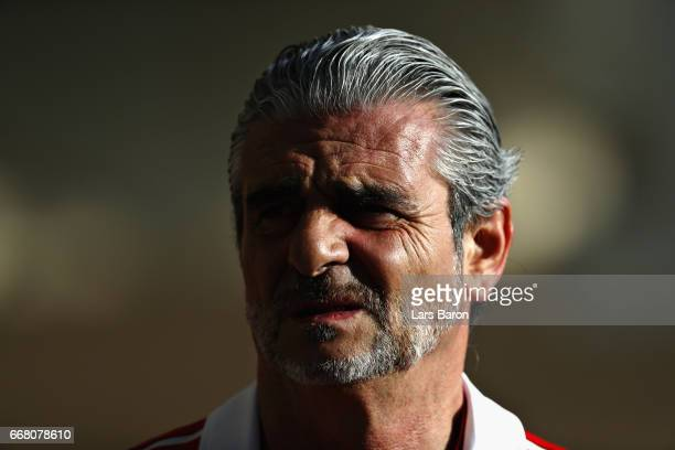Ferrari Team Principal Maurizio Arrivabene in the Paddock during previews to the Bahrain Formula One Grand Prix at Bahrain International Circuit on...