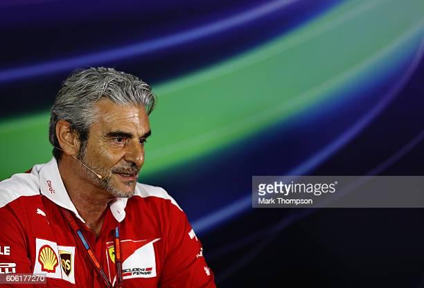 Ferrari Team Principal Maurizio Arrivabene in the Team Principals Press Conference during practice for the Formula One Grand Prix of Singapore at...