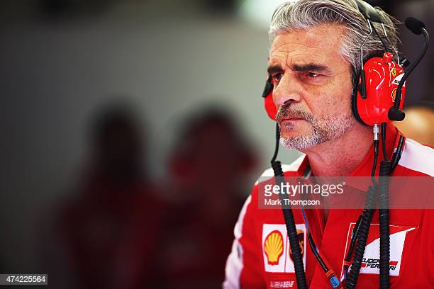Ferrari Team Principal Maurizio Arrivabene is seen during practice for the Monaco Formula One Grand Prix at Circuit de Monaco on May 21 2015 in...