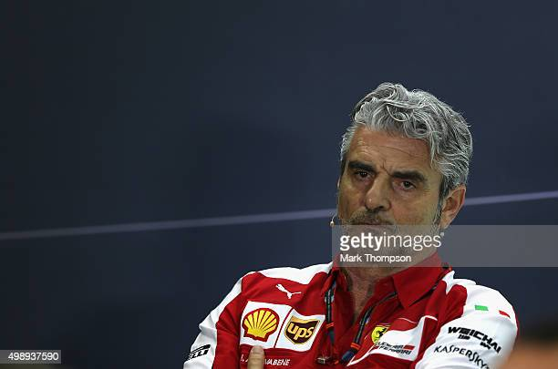 Ferrari Team Principal Maurizio Arrivabene looks on at a press conference during practice for the Abu Dhabi Formula One Grand Prix at Yas Marina...