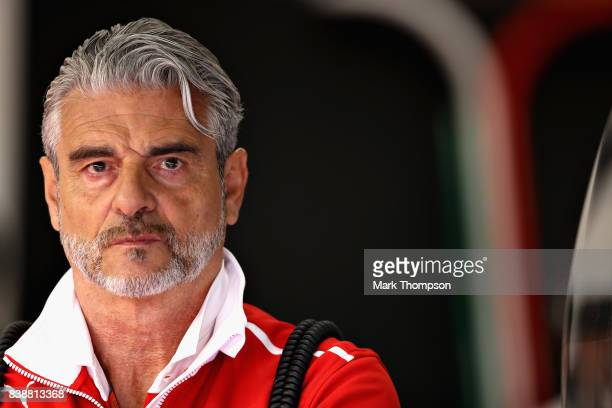 Ferrari Team Principal Maurizio Arrivabene looks on from the garage during practice for the Formula One Grand Prix of Belgium at Circuit de...