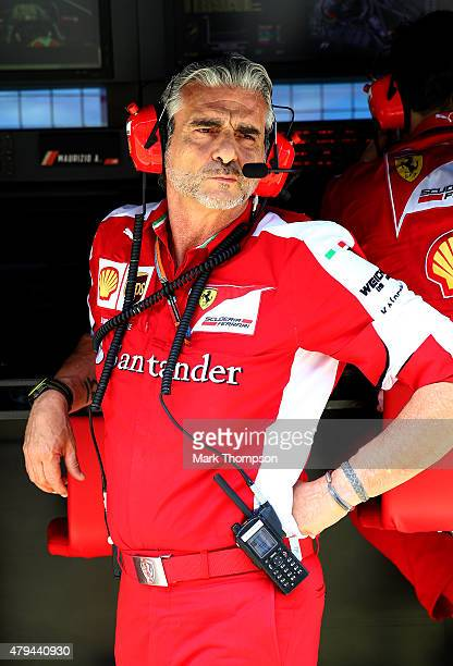 Ferrari Team Principal Maurizio Arrivabene looks on from the pit wall during qualifying for the Formula One Grand Prix of Great Britain at...