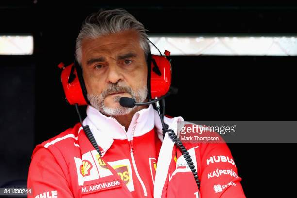 Ferrari Team Principal Maurizio Arrivabene looks on from the pit wall during qualifying for the Formula One Grand Prix of Italy at Autodromo di Monza...