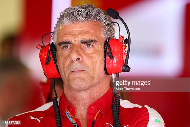 Ferrari Team Principal Maurizio Arrivabene looks on in the garage during final practice for the Formula One Grand Prix of Italy at Autodromo di Monza...