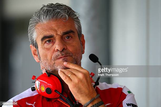 Ferrari Team Principal Maurizio Arrivabene looks on in the garage during practice for the Formula One Grand Prix of Japan at Suzuka Circuit on...