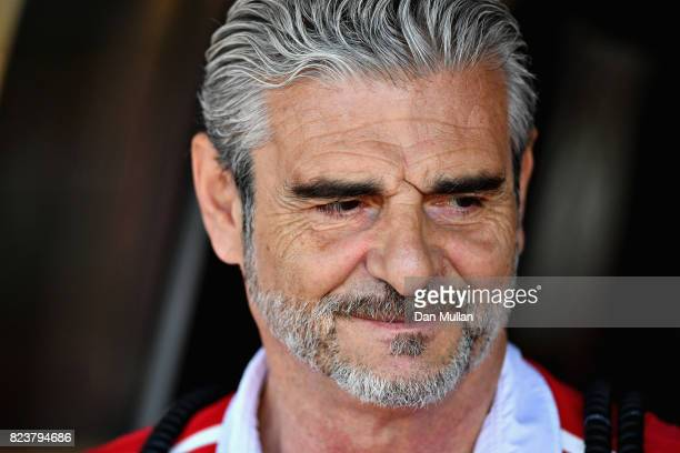 Ferrari Team Principal Maurizio Arrivabene looks on in the garage during practice for the Formula One Grand Prix of Hungary at Hungaroring on July 28...