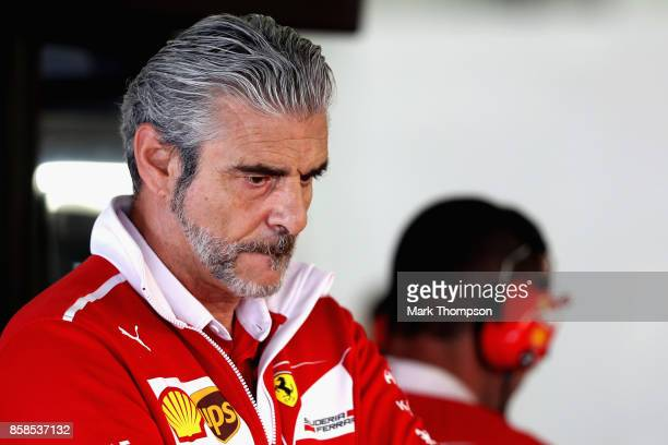 Ferrari Team Principal Maurizio Arrivabene looks on in the garage during qualifying for the Formula One Grand Prix of Japan at Suzuka Circuit on...