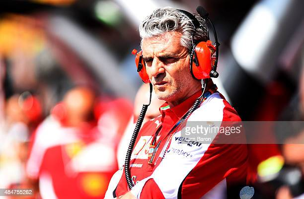 Ferrari Team Principal Maurizio Arrivabene looks on in the pit lane during practice for the Formula One Grand Prix of Belgium at Circuit de...