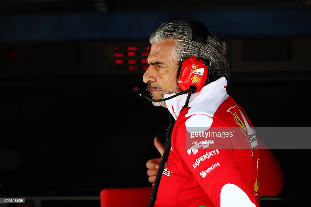 Ferrari Team Principal <a gi-track='captionPersonalityLinkClicked' href=/galleries/search?phrase=Maurizio+Arrivabene&family=editorial&specificpeople=5666002 ng-click='$event.stopPropagation()'>Maurizio Arrivabene</a> on the pit wall during final practice ahead of the Formula One Grand Prix of Russia at Sochi Autodrom on April 30, 2016 in Sochi, Russia.