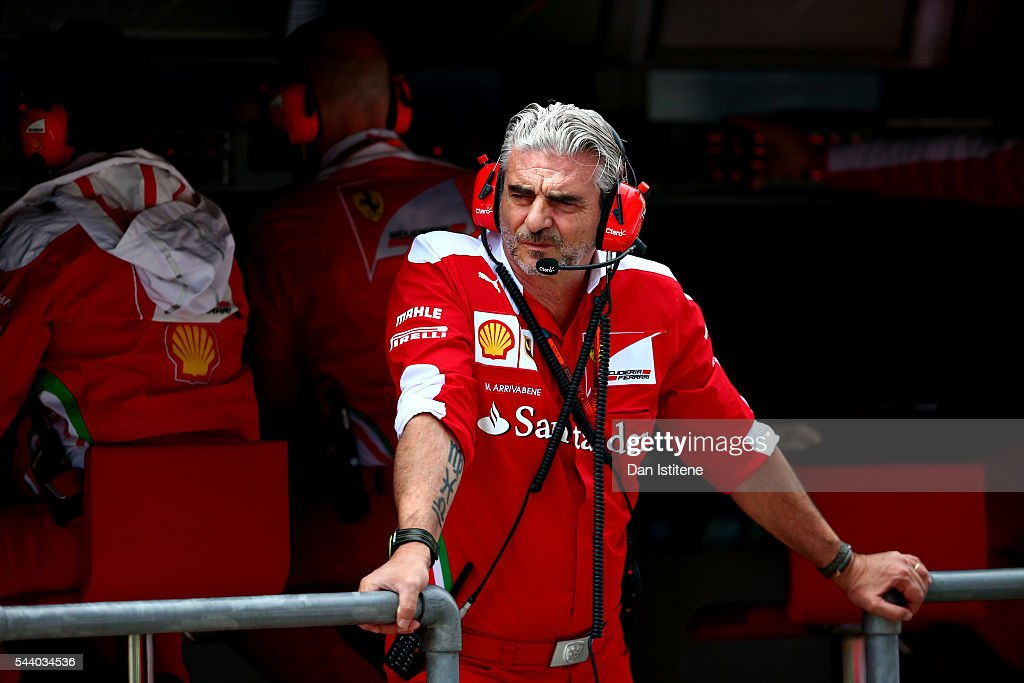 Ferrari Team Principal <a gi-track='captionPersonalityLinkClicked' href=/galleries/search?phrase=Maurizio+Arrivabene&family=editorial&specificpeople=5666002 ng-click='$event.stopPropagation()'>Maurizio Arrivabene</a> on the pit wall during practice for the Formula One Grand Prix of Austria at Red Bull Ring on July 1, 2016 in Spielberg, Austria.