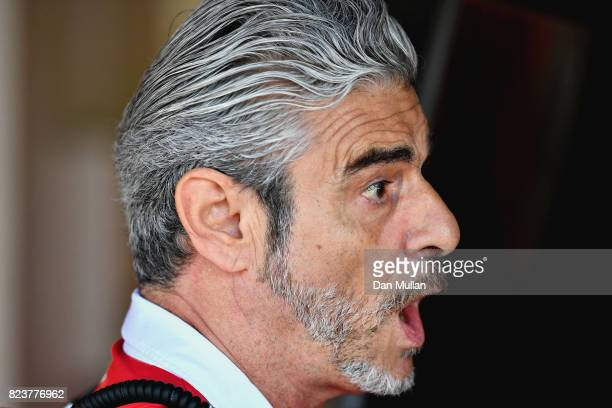 Ferrari Team Principal Maurizio Arrivabene reacts in the garage during practice for the Formula One Grand Prix of Hungary at Hungaroring on July 28...