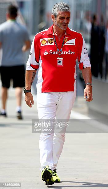 Ferrari Team Principal Maurizio Arrivabene walks in the paddock during previews to the Formula One Grand Prix of Hungary at Hungaroring on July 23...