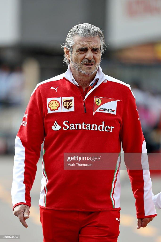 Ferrari Team Principal <a gi-track='captionPersonalityLinkClicked' href=/galleries/search?phrase=Maurizio+Arrivabene&family=editorial&specificpeople=5666002 ng-click='$event.stopPropagation()'>Maurizio Arrivabene</a> walks to the pits ahead of practice for the Monaco Formula One Grand Prix at Circuit de Monaco on May 26, 2016 in Monte-Carlo, Monaco.