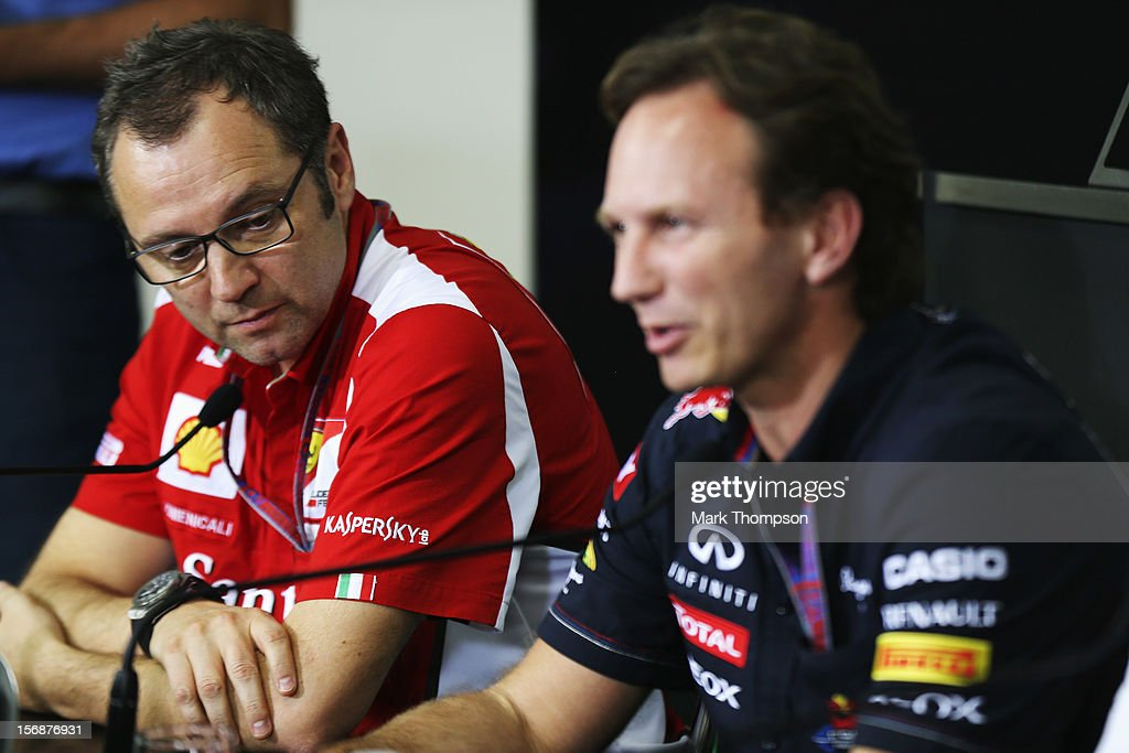 Ferrari Team Principal Stefano Domenicali and Red Bull Racing Team Principal Christian Horner attend the official press conference following practice for the Brazilian Formula One Grand Prix at the Autodromo Jose Carlos Pace on November 23, 2012 in Sao Paulo, Brazil.