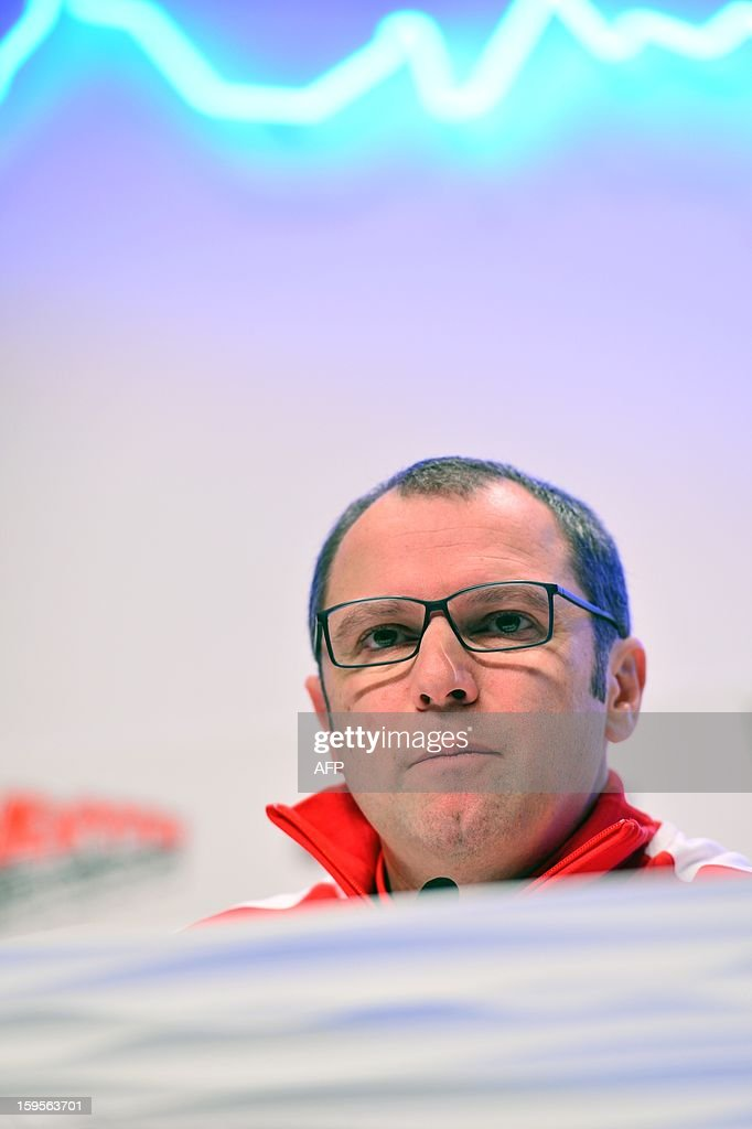 Ferrari Team principal Stefano Domenicali attends a press conference during the Wrooom, F1 and MotoGP Press Ski Meeting, Ducati and Ferrari's annual media gathering, in Madonna di Campiglio on January 16, 2013. AFP/ GIUSEPPE