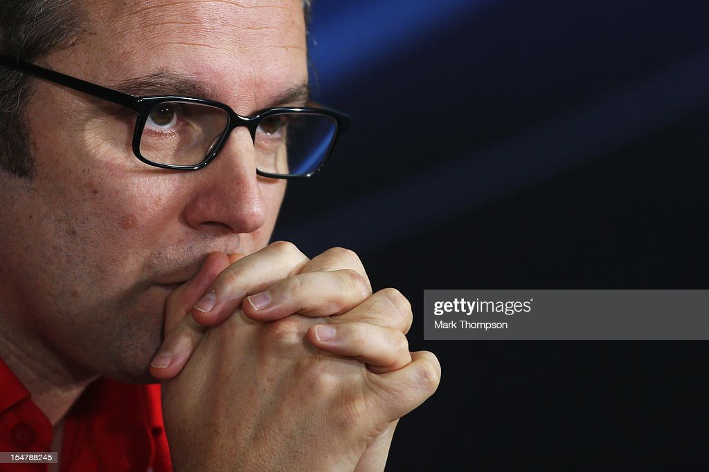 Ferrari Team Principal <a gi-track='captionPersonalityLinkClicked' href=/galleries/search?phrase=Stefano+Domenicali&family=editorial&specificpeople=544864 ng-click='$event.stopPropagation()'>Stefano Domenicali</a> attends the official press conference following practice for the Indian Formula One Grand Prix at Buddh International Circuit on October 26, 2012 in Noida, India.
