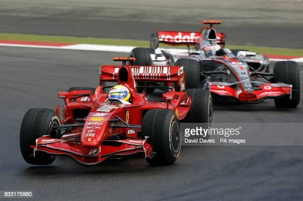 Ferrari's Felipe Massa leads McLarens Fernando Alonso during the European Formula One Grand Prix at the Nurburgring Germany
