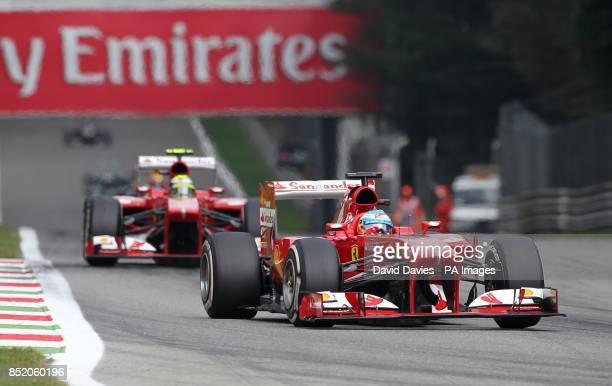 Ferrari's Fernando Alonso as he enters Variante Ascari during the Italian Grand Prix and the Autodromo Nazionale Monza Monza Italy