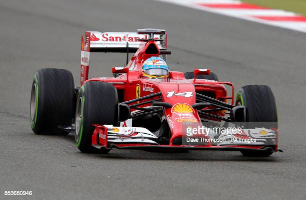 Ferrari's Fernando Alonso during the qualifying for the 2014 British Grand Prix at Silverstone Circuit Towcester PRESS ASSOCIASTION Photo Picture...
