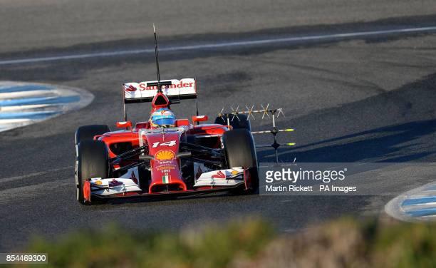 Ferrari's Fernando Alonso on the track during the 2014 Formula One Testing at the Circuito de Jerez Jerez Spain