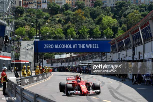 TOPSHOT Ferrari's Finnish driver Kimi Raikkonen competes during the qualifying session at the Monaco street circuit on May 27 2017 in Monaco a day...