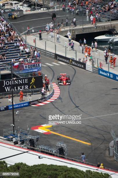 Ferrari's Finnish driver Kimi Raikkonen competes during the qualifying session at the Monaco street circuit on May 27 2017 in Monaco a day ahead of...