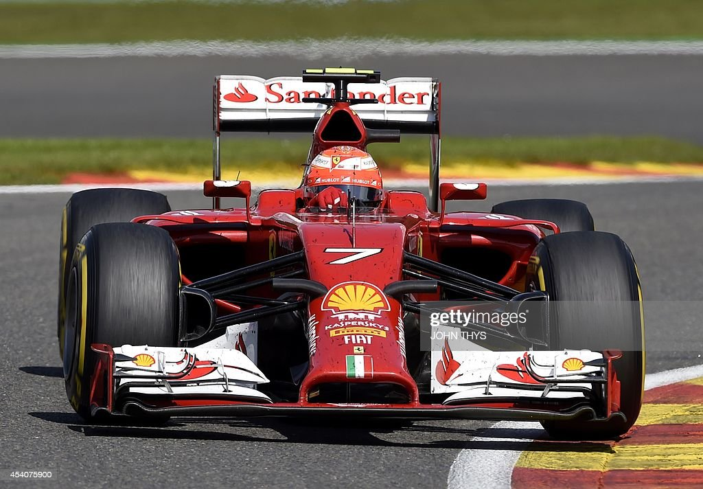 Ferrari's Finnish driver Kimi Raikkonen drives at the Spa-Francorchamps ciruit in Spa on August 24, 2014 during the Belgium Formula One Grand Prix.
