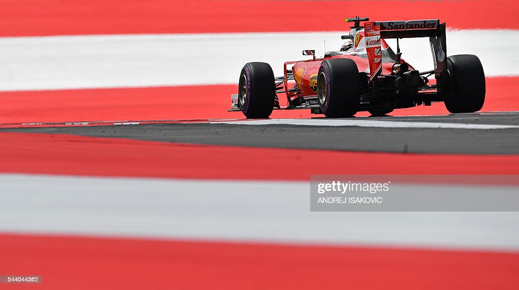 Ferrari's Finnish driver Kimi Raikkonen drives drives during the first practice session of the Formula One Grand Prix of Austria at the Red Bull Ring in Spielberg, Austria on July 1, 2016. / AFP / ANDREJ