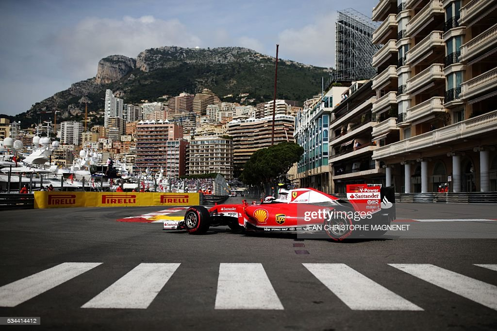 Ferrari's Finnish driver Kimi Raikkonen drives during the first practice session at the Monaco street circuit, on May 26, 2016 in Monaco, three days ahead of the Monaco Formula 1 Grand Prix. / AFP / JEAN