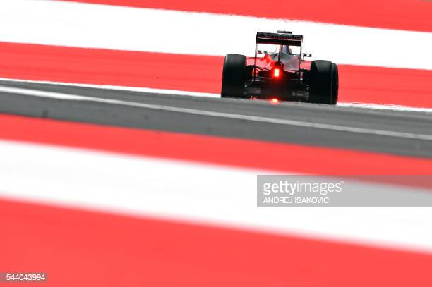 TOPSHOT Ferrari's Finnish driver Kimi Raikkonen drives during the first practice session of the Formula One Grand Prix of Austria at the Red Bull...