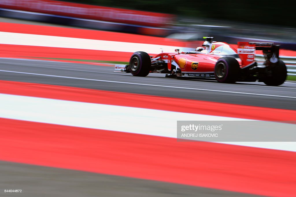 Ferrari's Finnish driver Kimi Raikkonen drives during the first practice session of the Formula One Grand Prix of Austria at the Red Bull Ring in Spielberg, Austria on July 1, 2016. / AFP / ANDREJ