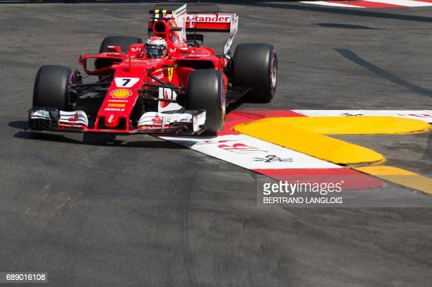 Ferrari's Finnish driver Kimi Raikkonen drives during the third practice session at the Monaco street circuit on May 27 2017 in Monaco one the eve of...