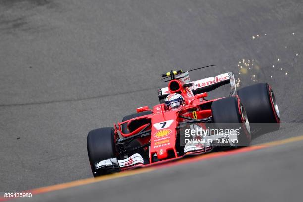 TOPSHOT Ferrari's Finnish driver Kimi Raikkonen drives during the third practice session at the SpaFrancorchamps circuit in Spa on August 26 2017...