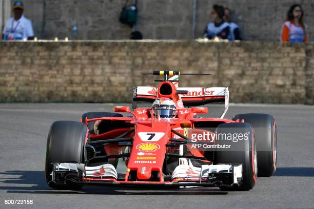Ferrari's Finnish driver Kimi Raikkonen steers his car during the Formula One Azerbaijan Grand Prix at the Baku City Circuit in Baku on June 25 2017...