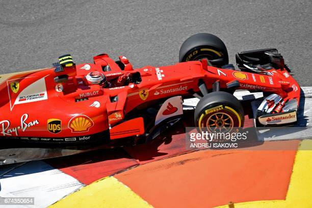 Ferrari's Finnish driver Kimi Raikkonen steers his car during the first practice session of the Formula One Russian Grand Prix at the Sochi Autodrom...